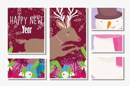 happy new year snowman and deer gift boxes flowers poster vector illustration