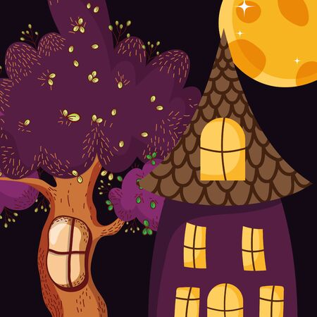 creepy house tree moon night halloween vector illustration