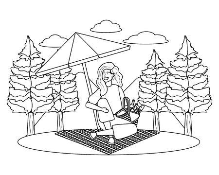 Woman cartoon having picnic design
