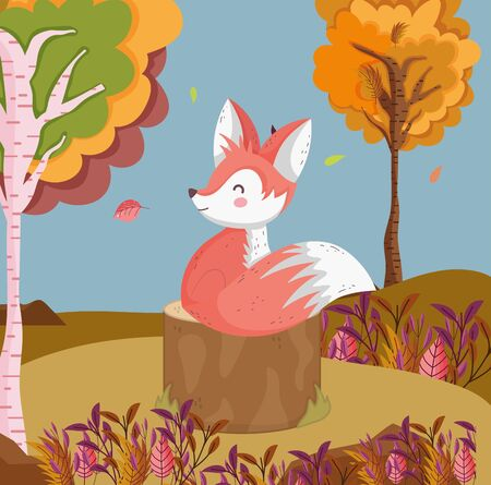 cute fox in the field hello autumn Ilustração