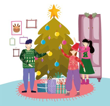 family in the living room with tree gifts decoration merry christmas, happy new year