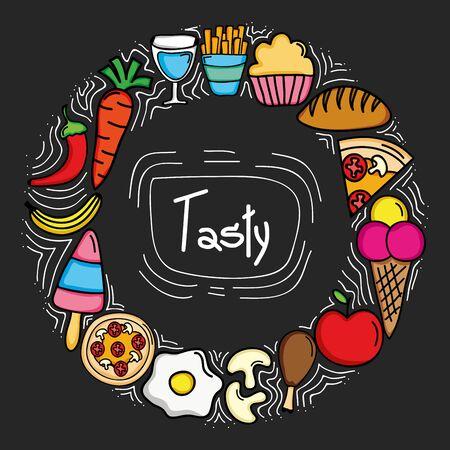 delicious food circular frame icons