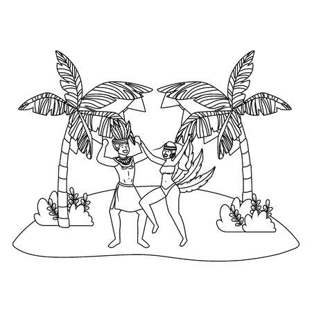 couple celebrating brazil carnival in black and white