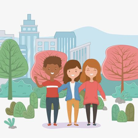 Girls and boy design, Firiendship together friends happy people and young theme Vector illustration
