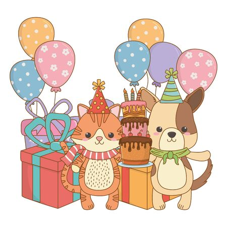 Cartoons with cake design, Animal happy birthday celebration decoration and surprise theme Vector illustration Stock Vector - 138697270