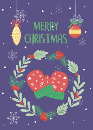 wreath gloves balls decoration merry christmas card