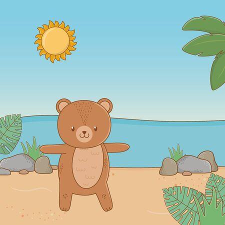 cute animal bear enjoying summer vacations, relax leisure outdoor cartoon vector illustration graphic design