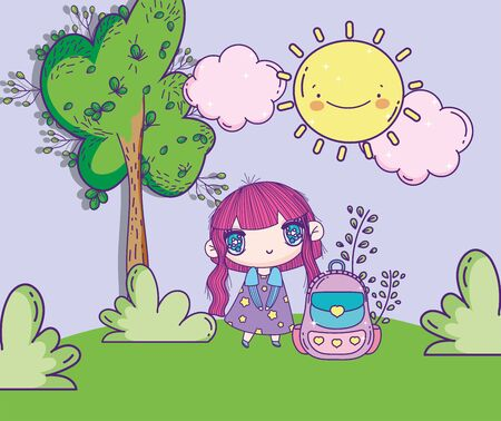 anime cute girl with backpack park tree bush sun clouds vector illustration