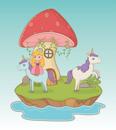 fairytale landscape scene with fungus and princess in unicorn vector illustration