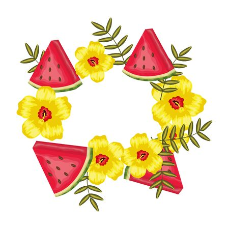 fresh watermelon fruits with leafs frame vector illustration design Ilustracja