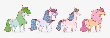 group unicorns dream mythology fantasy magic cartoon vector illustration