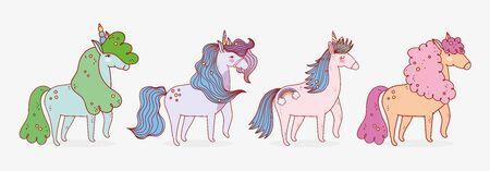 group unicorns dream mythology fantasy magic cartoon vector illustration