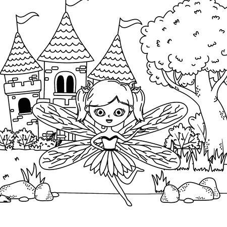 Fairy design, Fairytale history medieval fantasy kingdom tale game and story theme Vector illustration Ilustração