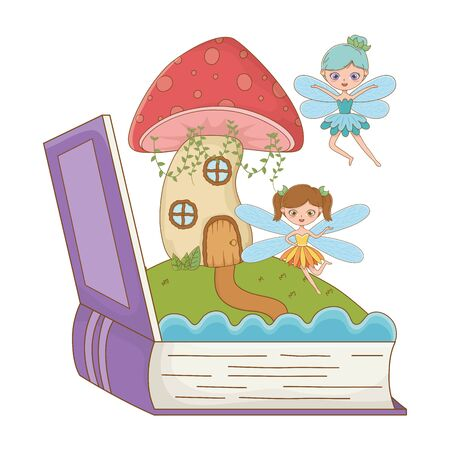Book and character design, Fairytale history medieval fantasy kingdom tale game and story theme Vector illustration