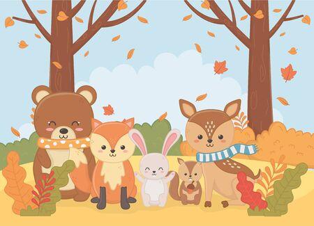 cute bear squarrel deer rabbit fox forest foliage autumn season vector illustration image Ilustração