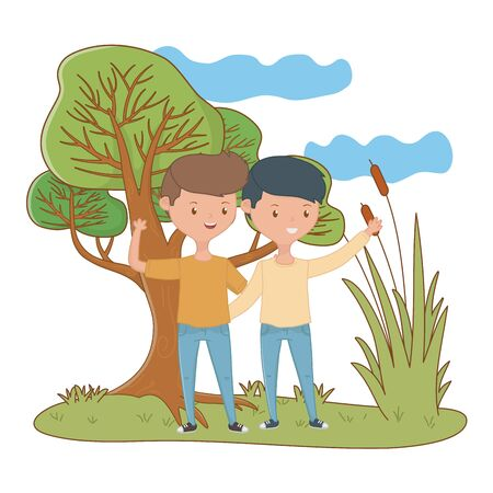 Teenager boys design, Friends male people young teen and man theme Vector illustration 向量圖像