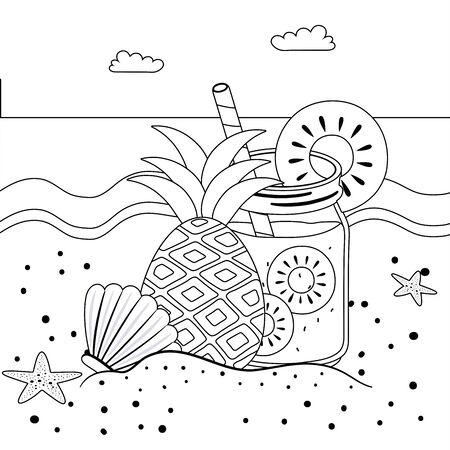 Pineapple juice design, Summer drink glass beverage fresh food and healthy theme Vector illustration Ilustracja