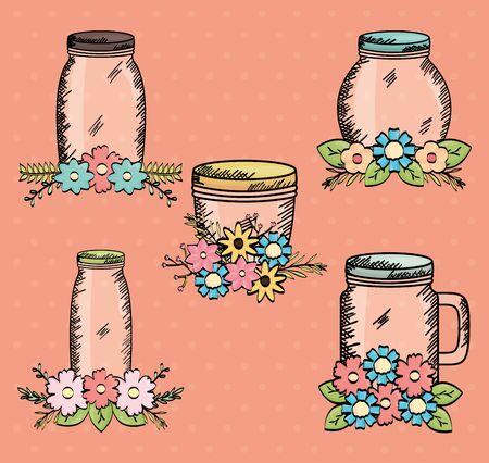 set of jars with flowers drawing Ilustração