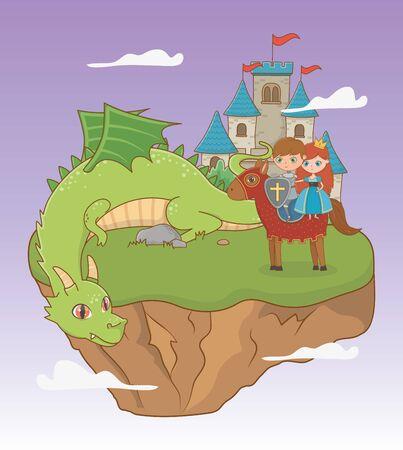 Princess knight dragon and horse design, Fairytale history medieval fantasy kingdom tale game and story theme Vector illustration Ilustração