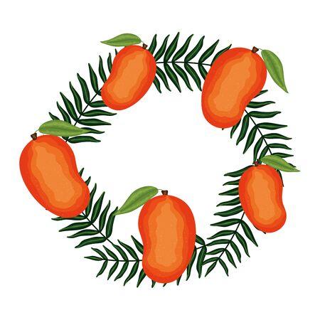 fresh mangos fruits with leafs decoration vector illustration design