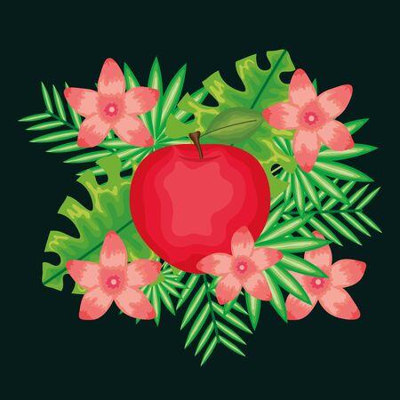 fresh apple fruit and leafs decoration vector illustration design Ilustrace