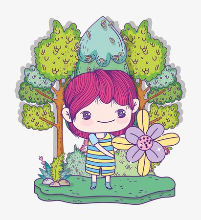 kids, cute little boy with flower trees plants nature