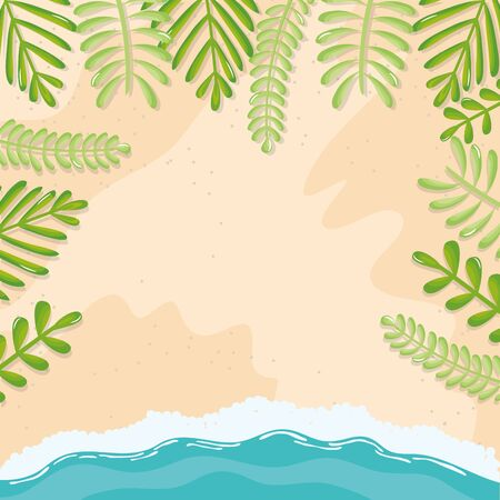 beach seascape with leafs frame summer scene vector illustration design