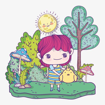 kids, cute little boy with chicken sunny day nature landscape