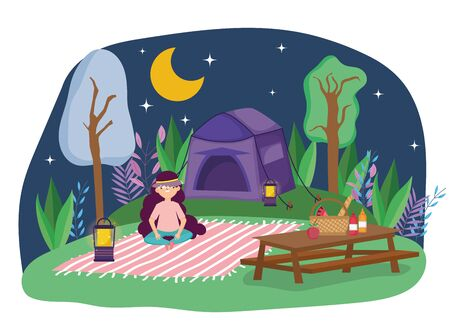 young woman sitting blanket tent camping night picnic in the park vector illustration