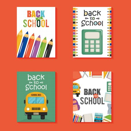 back to school set icons vector illustration design 向量圖像