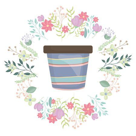 ceramic garden pot striped with flowers wreath