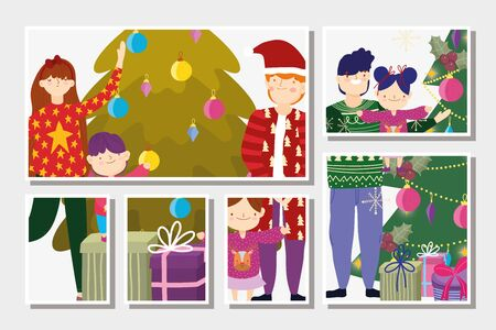 family with gifts decoration tree merry christmas, happy new year cards vector illustration