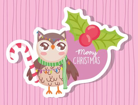 owl with scarf happy merry christmas tag Vetores