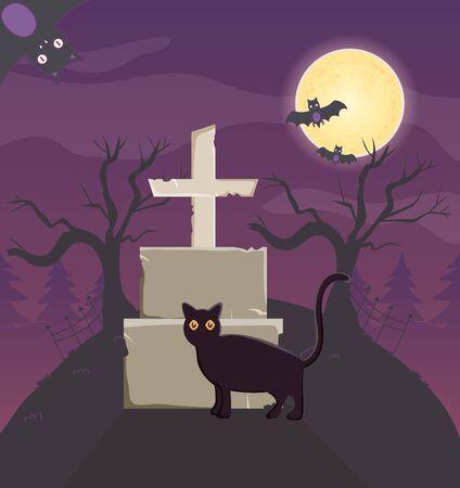 black cat gravestone cross trick or treat - happy halloween vector illustration