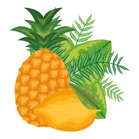 fresh lemon and pineapple fruits