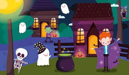 boys frankenstein dracula ghost skeleton night village costume trick or treat happy halloween vector illustration