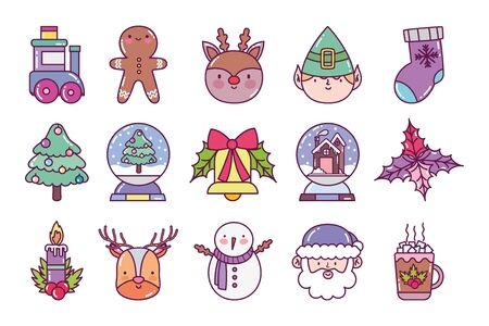 celebration decoration merry christmas icons white background