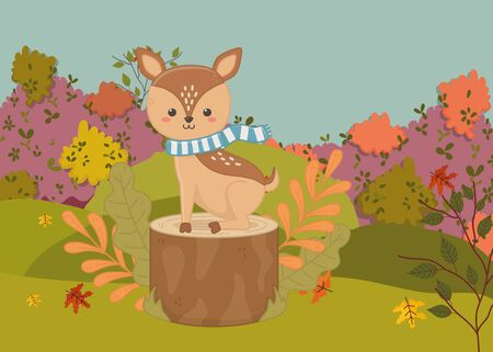 cute deer with scarf sitting on trunk hello autumn vector illustration
