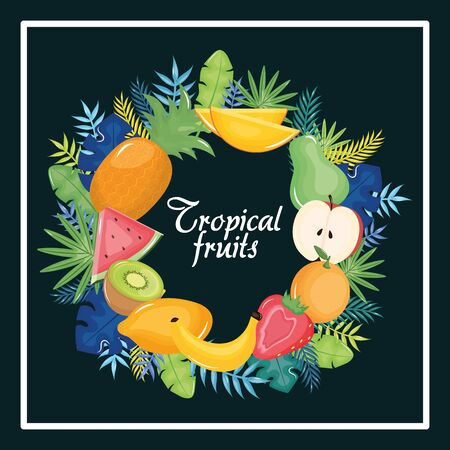 tropical fruits circular frame with leafs palms vector illustration design