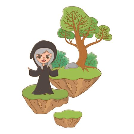 Medieval witch cartoon of fairytale design vector illustration
