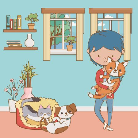 Boy with cats and dogs cartoon design
