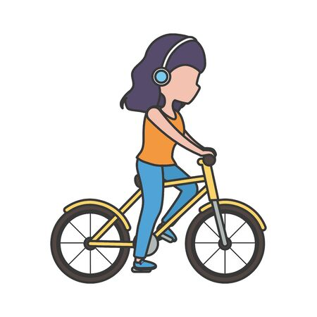 young woman with headphones riding bike Ilustrace