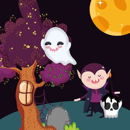 dracula ghost skull candle tree halloween