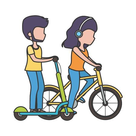 couple riding bike and electric scooter outdoor