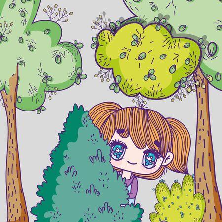 kids, little girl anime cartoon behind tree foliage forest