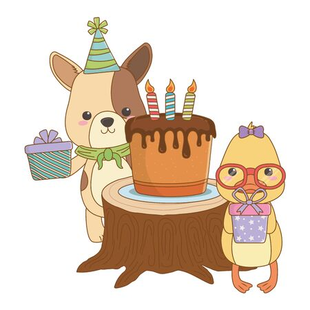 Animals cartoons with happy birthday cake design Illustration