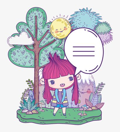kids, cute little girl anime cartoon talking in the outdoor vector illustration
