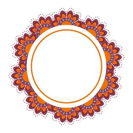 Konstrukcja ramy Mandale, Bohemic ornament medytacja indyjska dekoracja etniczna arabski i mistyczny motyw ilustracji wektorowych