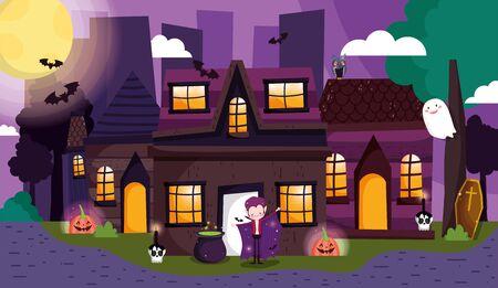 dracula lantern pumpkin ghost celebration costume trick or treat happy halloween vector illustration Иллюстрация