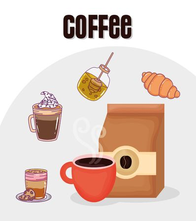 paper bag cup croissant honey frappe fresh beverage coffee time vector illustration